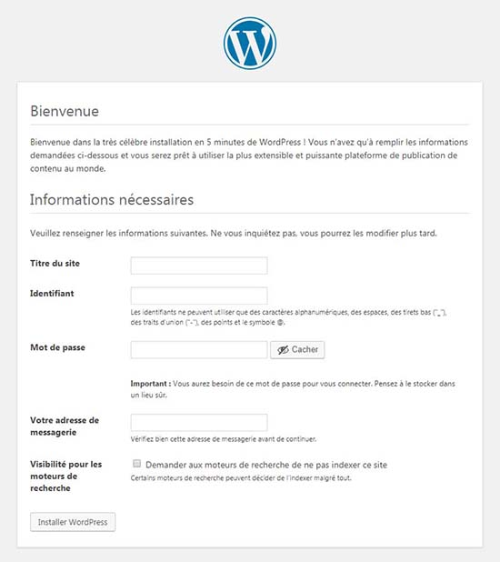 informations site wordpress