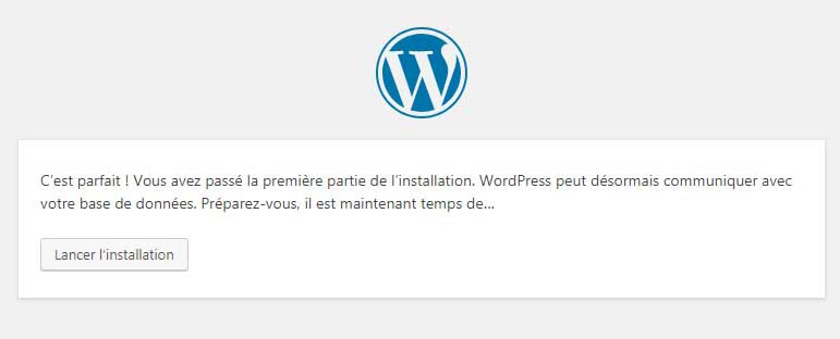 installation wordpress réussie